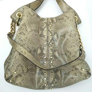 Michael Kors Snakeskin Studded Hobo Bag